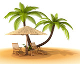 Sand, palm trees, umbrella, chaise lounges. 3d image.