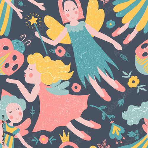 Girls vector fairy seamless pattern