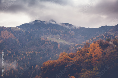 Beautiful autumn mountain landscape, image with retro toning - 170694212