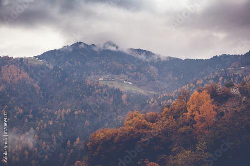 Beautiful autumn mountain landscape, image with retro toning - 170694212