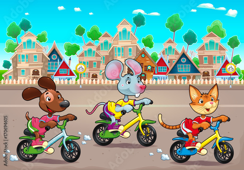 Papiers peints Chambre d enfant Funny pets are riding bikes in the town