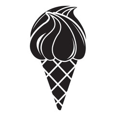 Wafer ice cream icon, simple black style