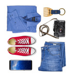 Collage of traveler clothing and accessories isolated on white background