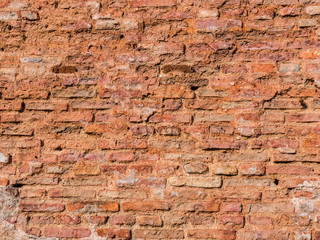 The old cracked red bricks wall as a background