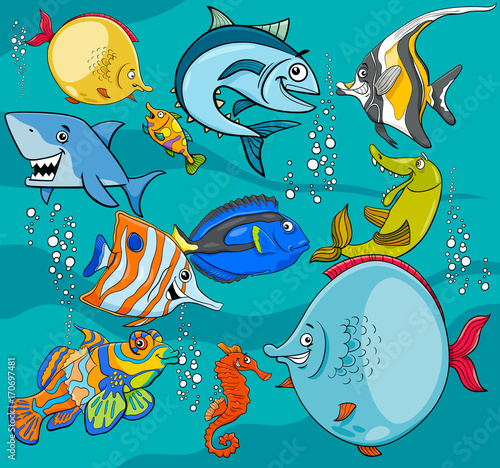 Sticker fish cartoon characters group