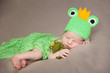 cute newborn baby in a frog costume