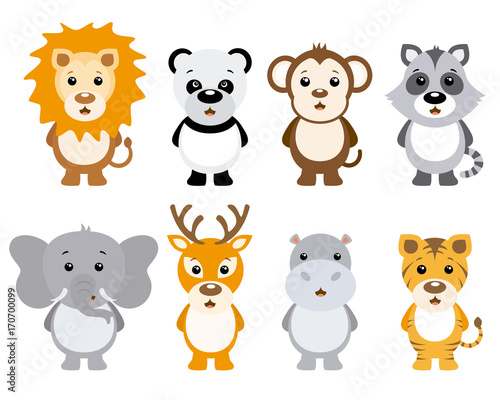 Wall mural Set of cute animals isolated on white background