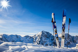 Ski in winter season, mountains and ski touring backcountry equipments on the top of snowy mountains in sunny day. South Tirol, Solda in Italy. - 170709614