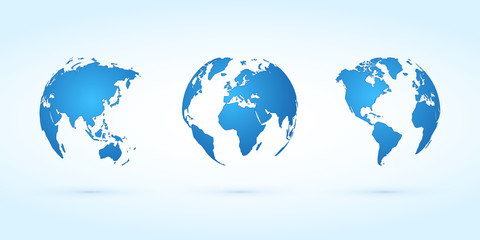 blue globes vector set planet earth