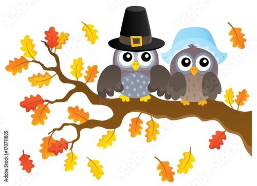 Fotobehang Voor kinderen Thanksgiving owls thematic image 1