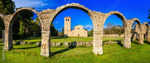 Fotobehang Freesurf Religious monuments of Italy - Abbey San Vincenzo al Volturno in Molise