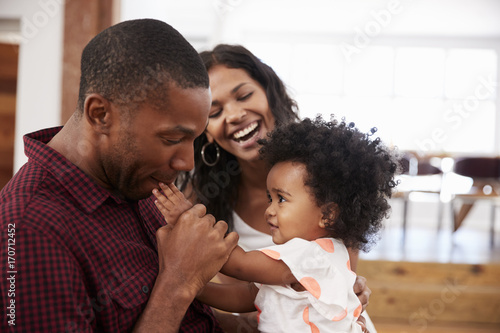 Parents Playing With Young Daughter At Home