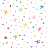 Festive seamless pattern background. Colorful polka dots and stars isolated on white.