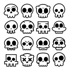 Halloween vector cartoon skull icons, Mexican cute sugar skulls design set, Dia de los Muertos