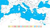 Mediterranean sea Map - Vector Illustration - 170718003