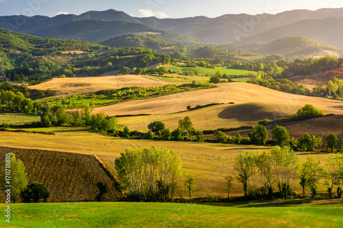 Fotobehang Honing Stunning beautiful landscape view of Tuscany fields at Barberino di Mugello in the Italian region Tuscany in summer