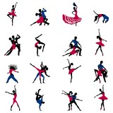 Vector silhouettes of dancer