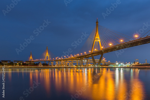 Fotobehang Bruggen Bhumibol Bridge also casually call as Industrial Ring Road Bridge, Samut Prakarn,Thailand