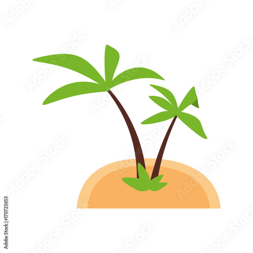 tropical island with palm trees icon image vector illustration design