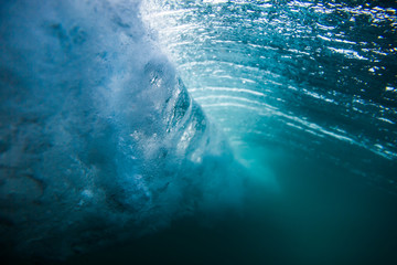Ocean in underwater. Wave underwater.