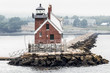 Rockland Breakwater Lighthouse from the water in Maine