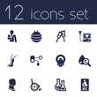 Set Of 12 Medical Icons Set.Collection Of Flask, Broken Neck, Wheelchair Toilet And Other Elements.