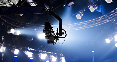 camera record on crane on stage entertainment industry
