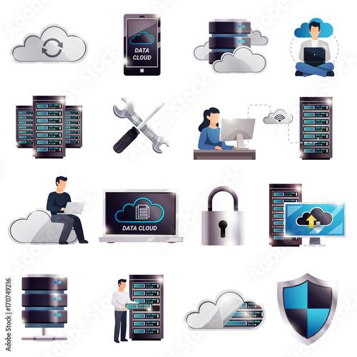 Datacenter Hosting Server Cloud Set