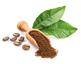 Coffee beans and leaves isolated on white