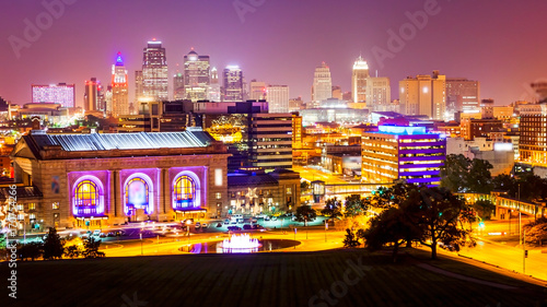 Kansas City, Missouri Skyline at Night (logos blurred)
