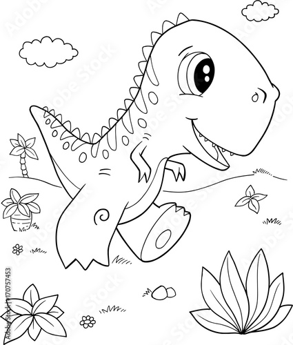 Fotobehang Cartoon draw Cute Tyrannosaurus rex Dinosaur Vector Illustration Art