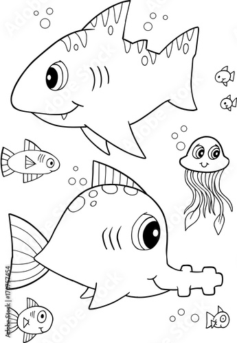 Fotobehang Cartoon draw Cute Shark Fish Vector Illustration Art