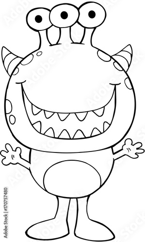 Fotobehang Cartoon draw Cute Halloween Monster Vector Illustration Art
