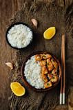 Orange glaze chicken with rice - 170772447