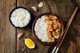 Orange glaze chicken with rice - 170772459