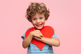 Charming boy posing with heart - 170776049