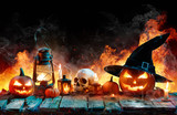 Halloween In Flame - Burning Pumpkins On Wooden