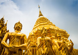 Golden Buddha statues and main stupa in Doi Suthep - 170779635