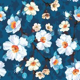 Blue Floral Seamless Pattern - 170780099