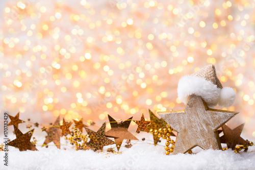 Bożenarodzeniowy kartka z pozdrowieniami z boże narodzenie złocistymi dekoracjami.