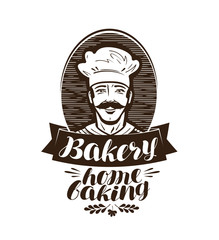 Bakery, bakehouse logo. Home baking label. Vintage vector illustration