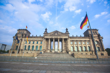 Facade of german parliament called Reichstag or Bundestag, building, Berlin, Germany, The Headquarter of the german Government