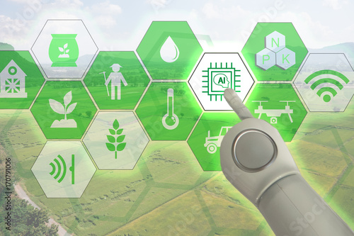 Smart farming, industrial agriculture with artificial intelligence(ai) concept. Farmer use robot and augmented reality technology to research, control, monitor and management in the field,farm