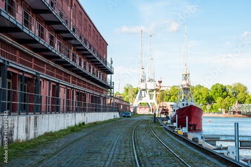 Fotobehang Schip Lubeck old harbor