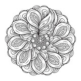 Abstract black and white mandala pattern