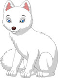 Cartoon arctic fox isolated on white background - 170797250