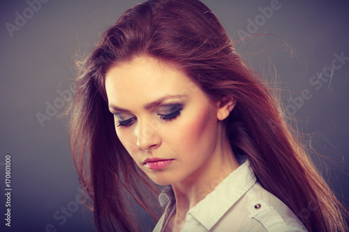 Fotobehang Kapsalon Attractive brunette woman with windblown hair