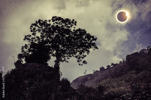 Fotobehang Aubergine Scientific natural phenomenon. Total solar eclipse glowing on sky.