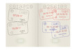 Passport pages with international stamps