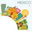 Mexico Skyline with Color Buildings, Blue Sky and Copy Space. - 170804496